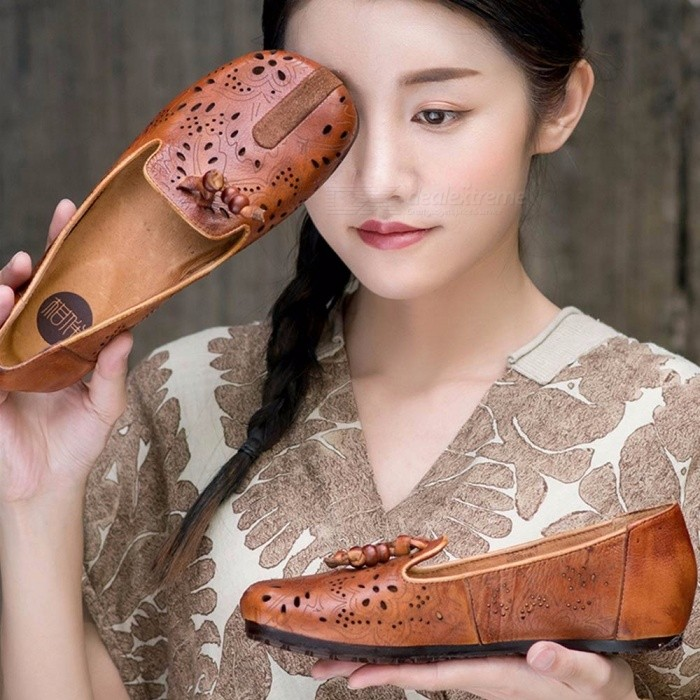 New-Womens-Retro-Totem-Paisley-Version-Shoes-Hollow-Out-Genuine-Leather-Round-Toe-Slip-On-Soft-Flat-Shoes-For-Women-Chocolate40