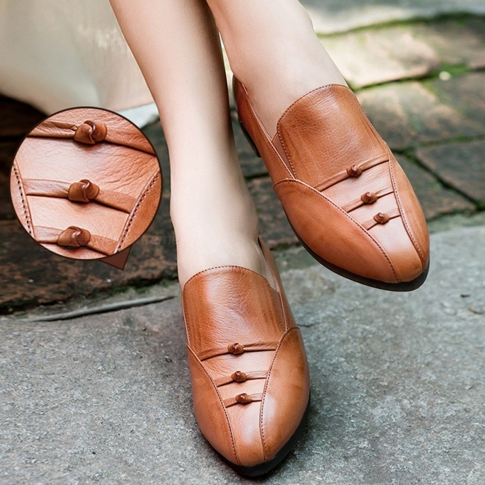 bf90f285e786 New Handmade Women  s Shoes Oxford Genuine Leather Round Toe Solid Color  Soft Flat Shoes For Women Chocolate 34