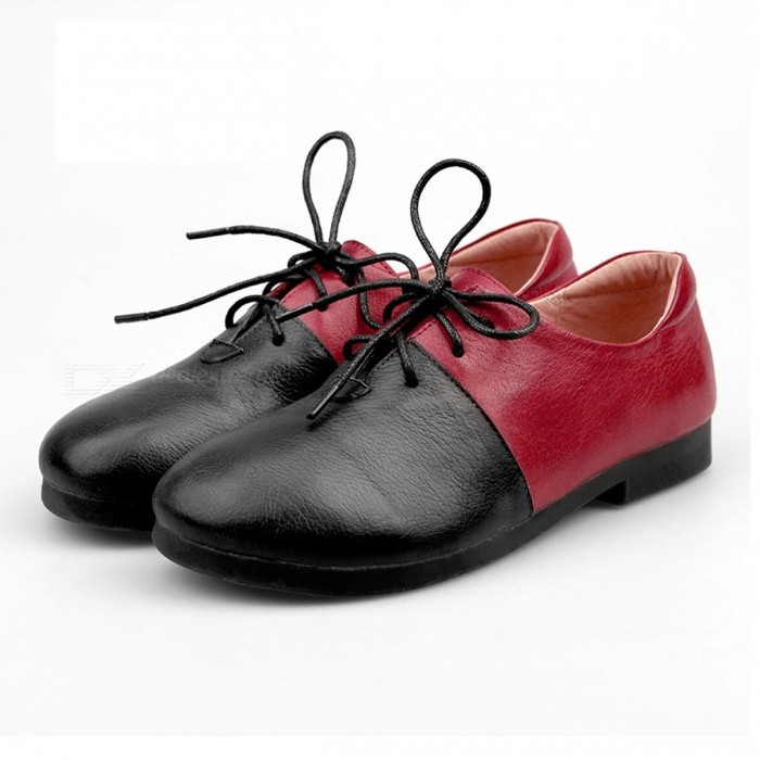 Handmade-Genuine-Leather-Mixed-Colors-Womens-Round-Toe-Shoes-Lace-Up-Manual-Stitch-Shoes-For-Women-RED-40
