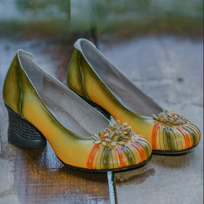 a5f7c7781ee8 New Handmade Women  s Shoes Retro National Genuine Leather Flower High  Heels Literary Soft Shoes Light Yellow 38