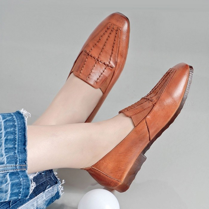 New-Spring-Womens-Rome-Shoes-Oxford-Genuine-Leather-Square-Toe-Soft-Flat-Shoes-For-Women-Orange40