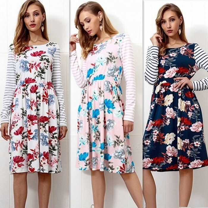 Autumn Flowers Print Striped Long Sleeve Patching Dress Casual High Waist Knee-Length Dress With Pockets For Women Pink/S