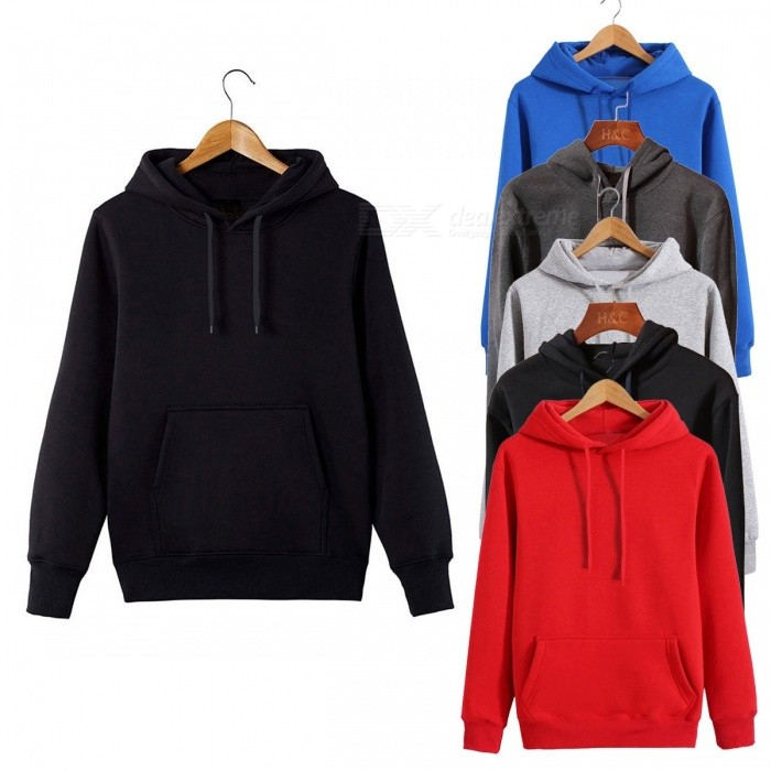 Fashion New Men's Sweater Hooded Long Sleeve Hoodies Round Neck Casual Solid Color Sweatshirts For Men Dark Grey/XXL