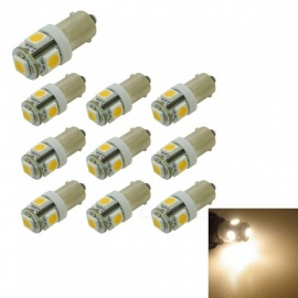 HONSCO 10PCS T4W BA9S 5SMD 5050 LED Car License Plate Light Turn Signal Bulb Parking Lights Door Lamp Warm White 12V