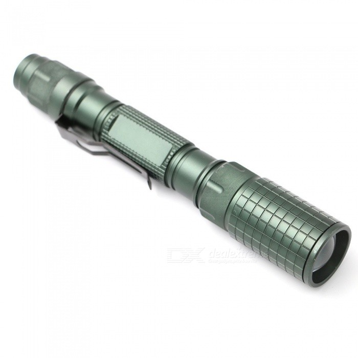 Portable 10W XML T6 1500lm Flashlight Outdoor Lighting Torch 5-Mode,  Powered By 2 X 18650 Batteries White/Green