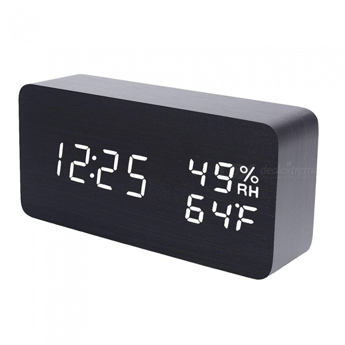 LED Cube Wooden Clock Voice Control Electronic Desk Table Clock LED Digital Watch no Radio For Kids Bedside Alarm Clock