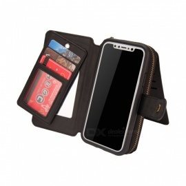 Cooho Large Capacity Mobile Phone Wallet Case, Women's Leather Phone Case for IPHONE X