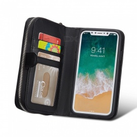Cooho Large Capacity Mobile Phone Wallet Case, Leather Split Zip Phone Case for IPHONE X