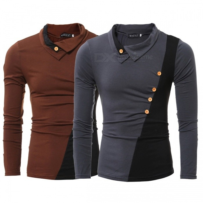 6e16ae5813c9 Fashion Patchwork Turn-Down Collar Tight Long Sleeve T-Shirt Stylish Side  Button Slim Fit T-Shirt For Men Dark Grey L