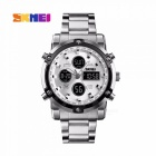 SKMEI Fashion Multifunction Mens Wrist Watch 30m Waterproof Digital Watch With Week Date Stopwatch Alarm Clock Silver