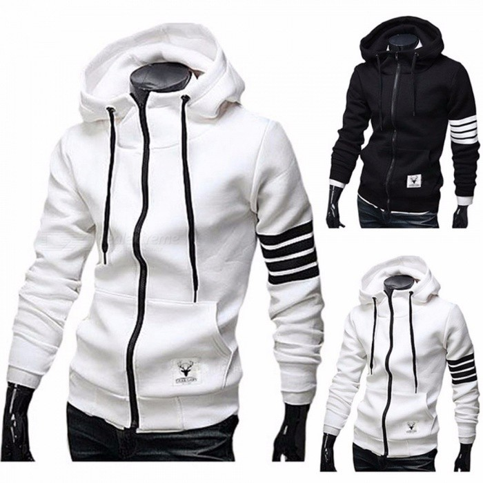 New Men's Autumn Winter Cotton Long Sleeve Slim Zipper Sweatshirts Fashion Casual Hooded Hoodies For Women Black/M
