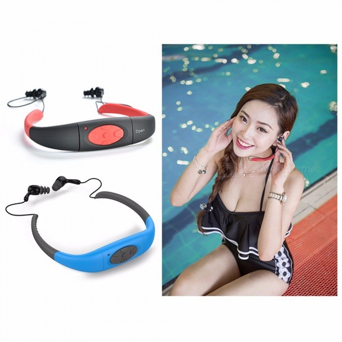 IPX8 Wireless Waterproof Earphones For Swimming Diving Stereo Bluetooth Headset Sport MP3 Headphone Blue