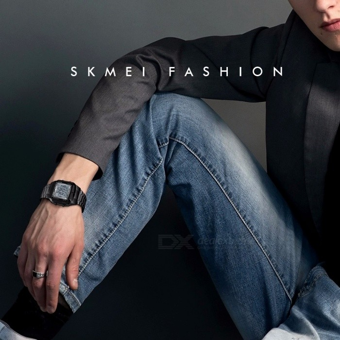 SKMEI 30m Waterproof Square Dial Digital Wristwatch, Men's Watch With Double Time Display Coffee