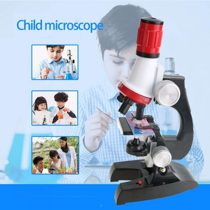 Biology Microscope Children Student 1200X Metal Educational Science Microscope With LED Light Gift For Kids Red