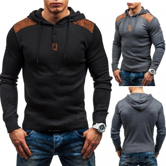 New Pullover Men's Casual Slim Hooded Hoodies Sweaters Single Button Suede Patch Hedging Sweatshirts For Men Black/M