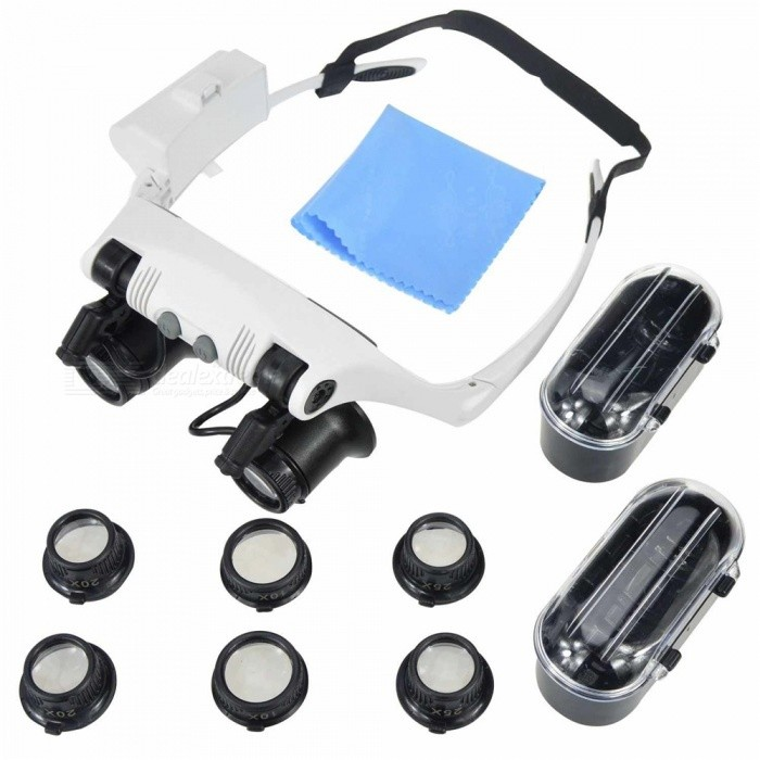 OJADE 10X 15X 20X 25X Wearing Glasses Eyes Illuminated Magnifier Magnifying Glass Watch Repairing Loupe With LED Lights