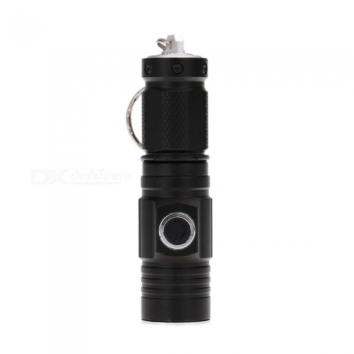 Aluminum Alloy CREE T6 Mini Flashlight, Waterproof Small Torch Light With Keychain For Outdoor White/Black