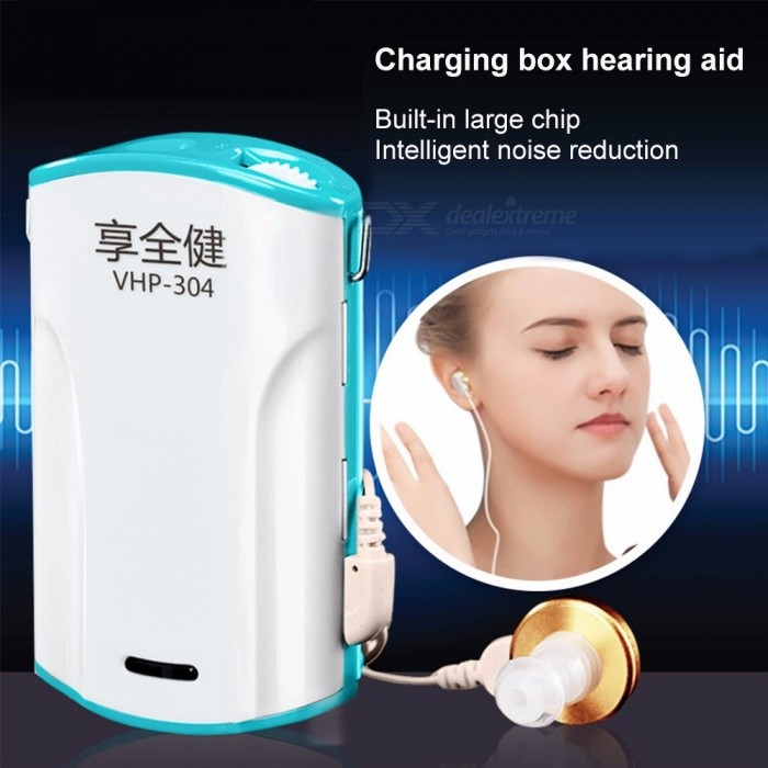 Pocket Wired Box Mini Hearing Aid, Battery Powered Best Sound Amplifier Receiver Ear Care Tool White