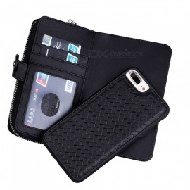 Cooho Large Capacity Mobile Phone Wallet Case, Leather Split Zip Phone Case for IPHONE 7P/8P