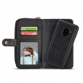 Cooho Large Capacity Mobile Phone Wallet Case, Leather Split Zip Phone Case for Samsung S9P