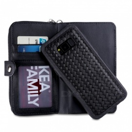 Cooho Large Capacity Mobile Phone Wallet Case, Leather Split Zip Phone Case for Samsung S8
