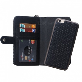 Cooho Large Capacity Mobile Phone Wallet Case Leather Split Zip Phone Case for IPHONE 6