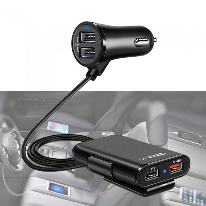 QC3.0 4 USB 8A Car Fast Charger with Extension Cord Cable