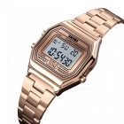 Skmei Multifunction Fashion Womens LED Digital Watch 30m Waterproof Stainless Steel Watch With Date Time Week Alarm Rose Gold