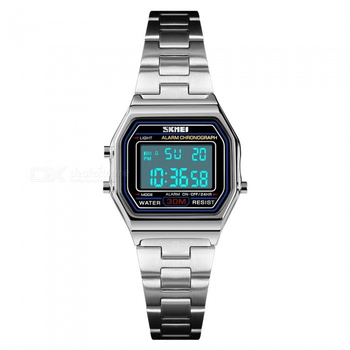 Skmei Multifunction Fashion Womens LED Digital Watch 30m Waterproof Stainless Steel Watch With Date Time Week Alarm Gold