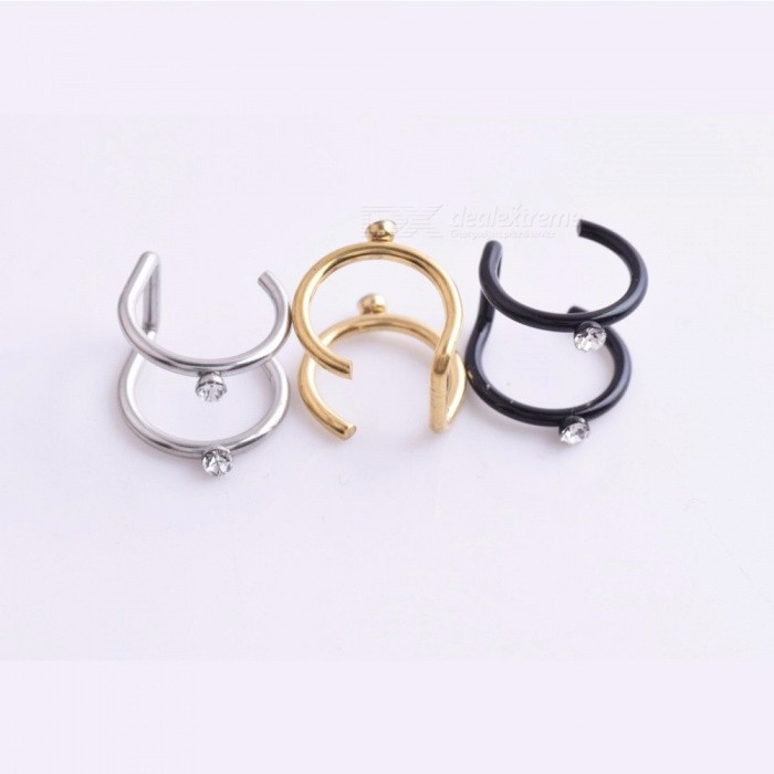 Ti Steel Without Ear Hole Double Clamp Earrings Clip Medical European And American Punk Ring Hook Black