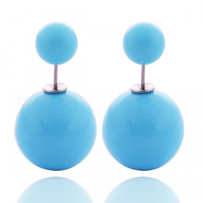 Candy Color 16mm Double Sided Acrylic Pearl Stud Earrings Gorgeous Spherical Ear Studs For