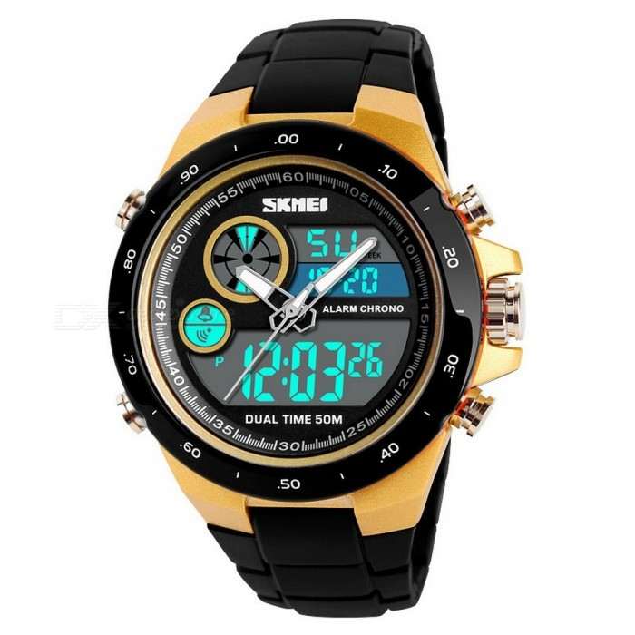 SKMEI 1429 Waterproof Round Dial Sports Digital Wristwatch, Student Watch With Luminous Effect, Dual Time Display Black