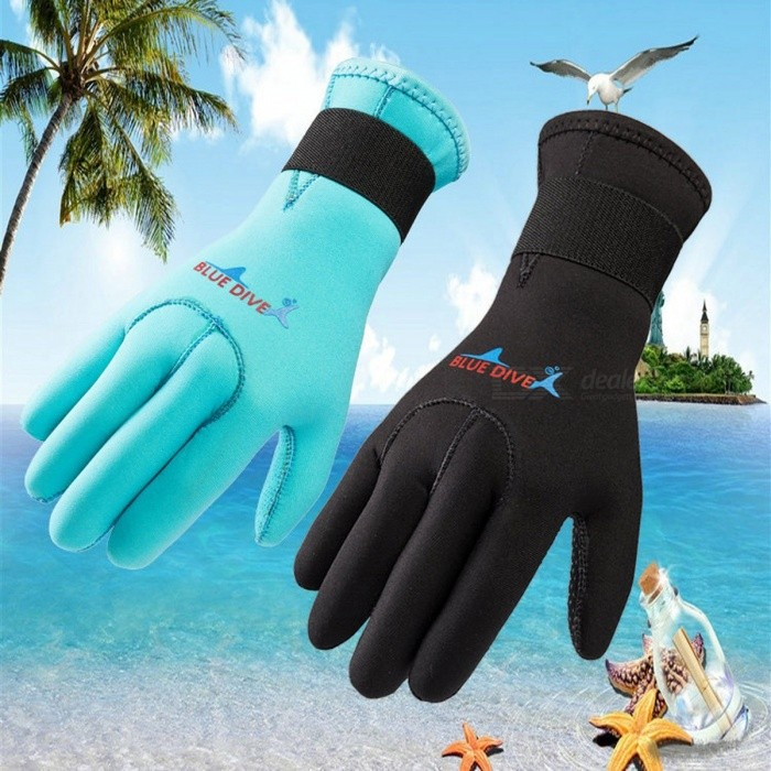 3mm Submersible Diving Swimming Gloves, Non-Slip Scratch-Proof Keep Warm Snorkel Gloves For Adult Black/S