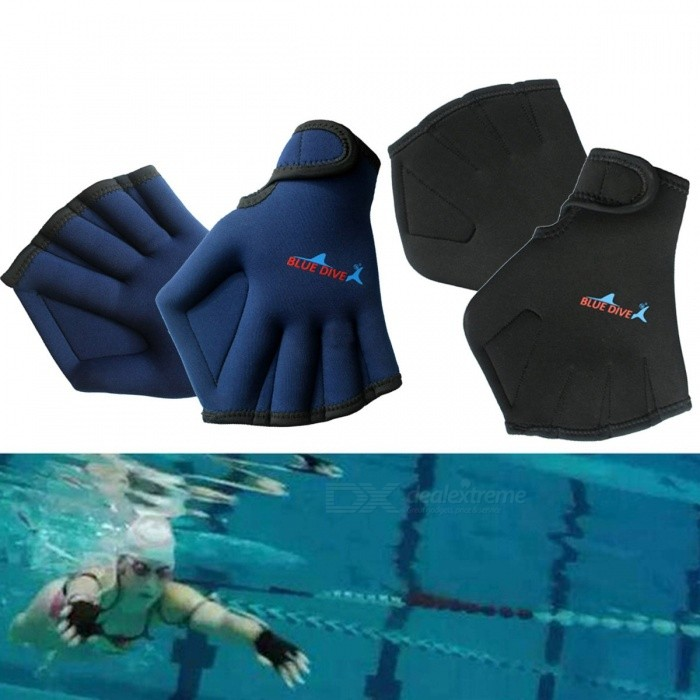 Adult Swimming Paddle Gloves, Hand Webbed Swim Training Gloves, Duck Palm Diving Surfing Gloves For Water Sports Blue