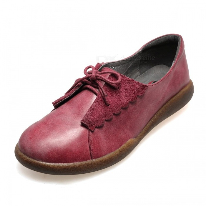 Autumn-New-Womens-Shoes-Genuine-Leather-Literary-Round-Toe-Lace-Up-Flat-Brogue-Shoes-Wine-Red34