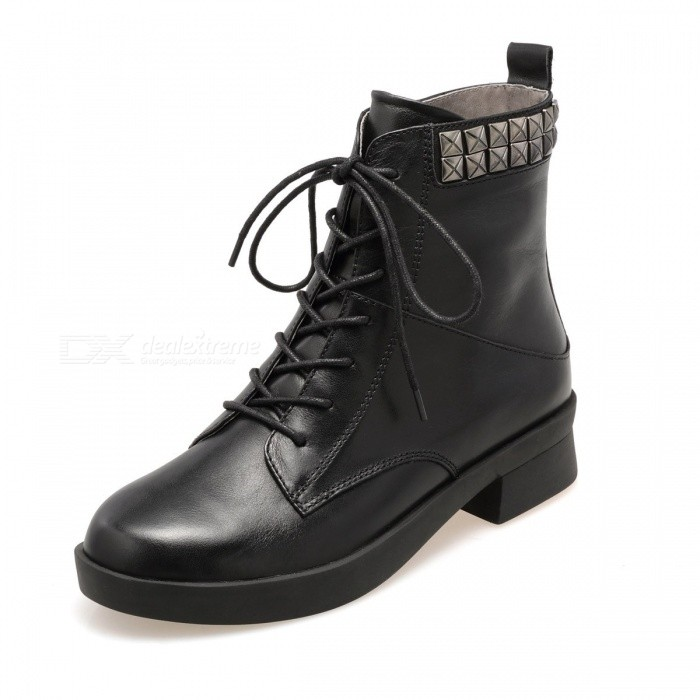Autumn-Winter-New-Shoes-Genuine-Leather-Solid-Color-Round-Toe-Lace-Up-Zipper-Western-Boots-For-Womens-Black34