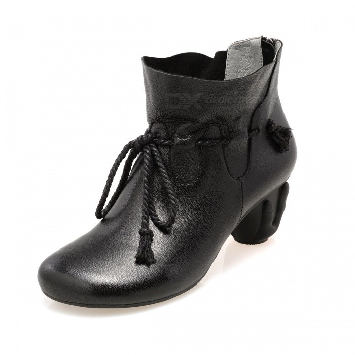 Autumn-Winter-Retro-Handmade-Genuine-Leather-Shoes-Comfortable-Zipper-Lace-Up-Round-Toe-Ankle-Boots-For-Women-Black34