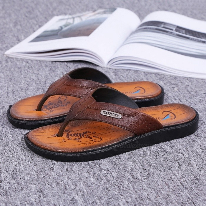 Summer-Non-Slip-Mens-Slippers-Casual-PVC-Flip-Flops-Sandals-Beach-Shoes-For-Men-Brown40