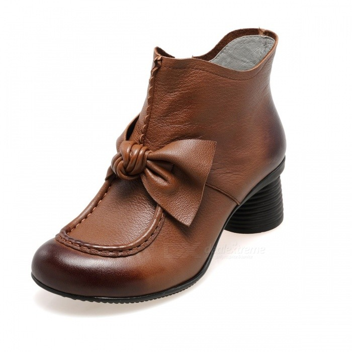 Autumn-Winter-Retro-Handmade-Leather-Women-Shoes-Short-Boots-Round-Toe-Bowknot-Decorated-Side-Zipper-Ankle-Boots-Brown34