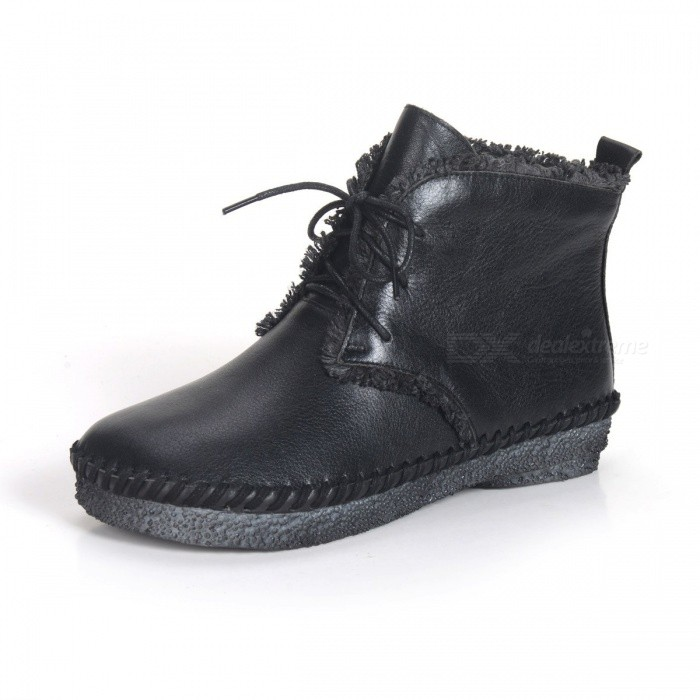 Spring-Autumn-Womens-Shoes-Lace-Up-Round-Toe-Flat-Boots-Genuine-Leather-Soft-Simple-Boot-For-Women-Black34