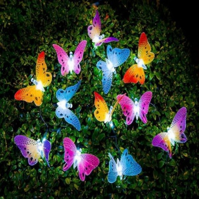12 LED Solar Powered Butterfly Fiber Optic Fairy String Outdoor Garden Lights New Hanging Decor RGB/0-5W