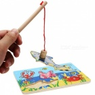 Kids Fishing Game Magnetic Wood Fishing Pole Rod With 3D Fish Models Educational Toy Multicolor