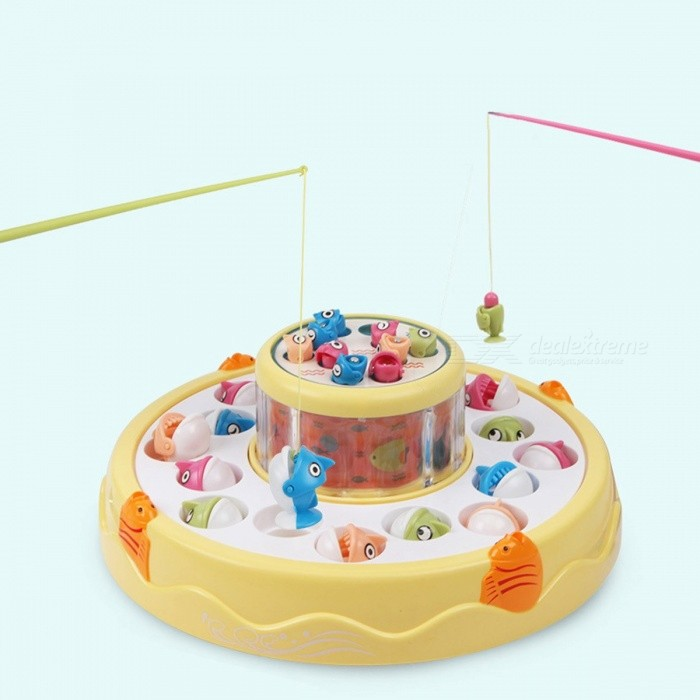 Kids Fishing Toy Set Musical Rotating Fishing Game Electronic Magnetic Outdoor Sports Double Layer Toys Yellow