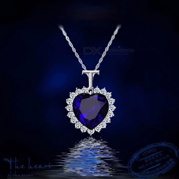 New Titanic Heart Of The Ocean Rhinestones Crystal Chain High Quality Pendant Necklace Jewelry Silver