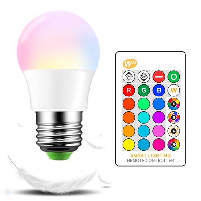 W28 E27 3W IR Infrared Remote Control RGB Color-Changing LED Bulb, Ambient Lamp Bulb For Living Room RGB/3w/Yes