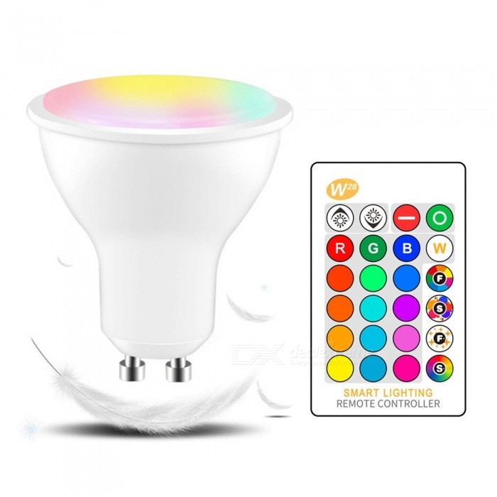 W28 GU10 LED IR Infrared Remote Control Color-Changing Spotlight Bulb, Ambient Lamp Bulb For Living Room White/5w/Yes