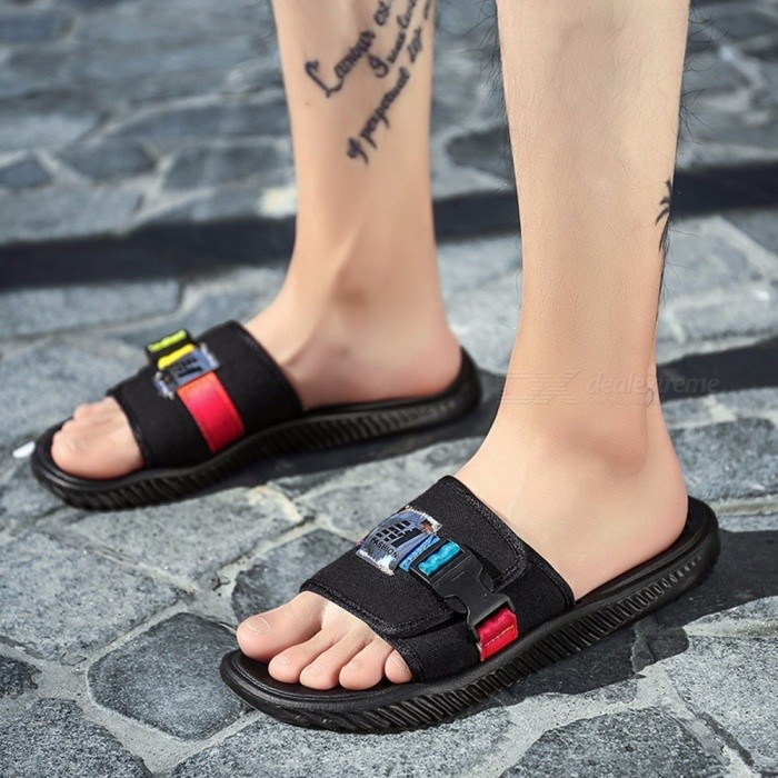 Summer-Casual-Canvas-Cloth-Upper-And-Buckle-Design-Mens-Slipper-Non-Slip-Male-Flip-Flops-Sandals-Beach-Shoes-(1-Pair)-Black40