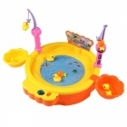 Electric Fishing Game Battery Powered Fishing Pond With Magnetic Fishing Rod, Ducks, Fish Kit Educational Toys For Kids Sky Blue