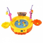 Electric Fishing Game Battery Powered Fishing Pond With Magnetic Fishing Rod, Ducks, Fish Kit Educational Toys For Kids Orange