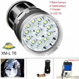 42000 Lumens Flashlight 12 CREE XML T6 LED Outdoor High Power Waterproof Flash Light for Fishing with 4*18650 Battery + Charger
